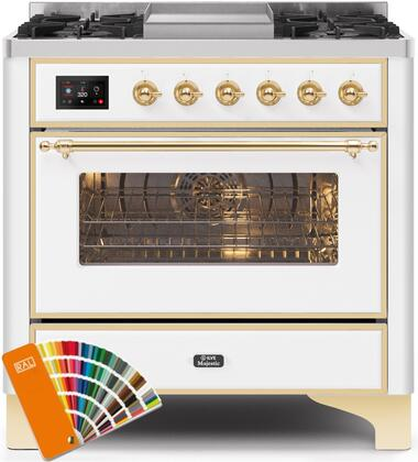 """UM09FDNS3RALGLP 36"""" Majestic II Series Dual Fuel Liquid Propane Rangewith 6 Burners and Griddle, 3.5 cu. ft. Oven Capacity, TFT Oven Control Display, Brass Trim, in Custom RAL Color"""