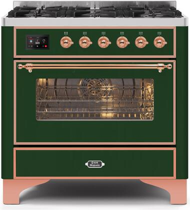 Ilve Majestic II UM096DNS3EGP Freestanding Dual Fuel Range Green, UM096DNS3EGPNG-Front-CD-A