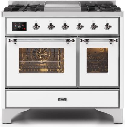 Ilve Majestic II UMD10FDNS3WHC Freestanding Dual Fuel Range White, UMD10FDNS3WHCNG-Front-CD-A