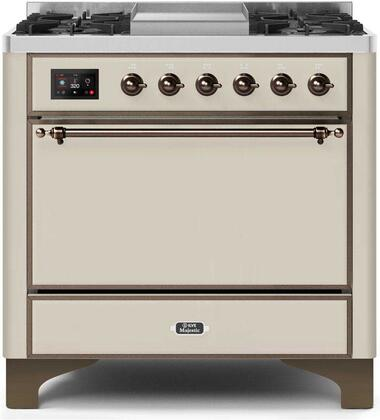 """UM09FDQNS3AWBLP Liquid Propane 36"""" Majestic II Series Dual Fuel Range with 6 Burners and Griddle, 4.1 cu. ft. Oven Capacity, TFT Oven Control Display, Bronze"""