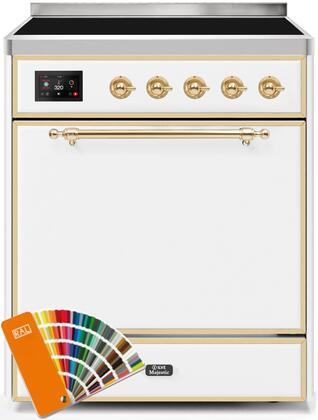 Ilve Majestic II UMI30QNE3RALG Freestanding Electric Range Custom Color, UMI30QNE3RALG-Front-CD-A