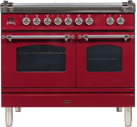 Ilve Nostalgie UPDN100FDMPRBXLP Freestanding Dual Fuel Range Red, UPDN100FDMPRBXLP Liquid Propane Range