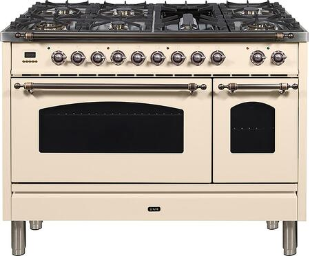 Nostalgie Series 48 Inch Dual Fuel Natural Gas Freestanding Range in Antique White with Bronze Trim