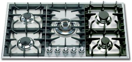"""UHP95C/I-LP 36"""" Liquid Proapne Gas Cooktop with 5 Sealed Brass Burners, 15,500 BTU Triple Ring Burner, Cast Iron Grates, in Stainless Steel"""