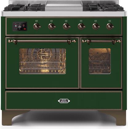 Ilve Majestic II UMD10FDNS3EGBLP Freestanding Dual Fuel Range Green, UMD10FDNS3EGBNG-Front-CD-A