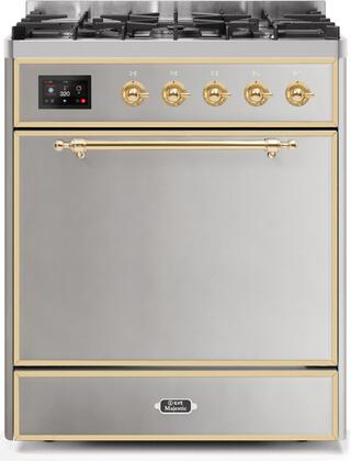 Ilve Majestic II UM30DQNE3SSG Freestanding Dual Fuel Range Stainless Steel, UM30DQNE3SSGNG-Front-CD-A