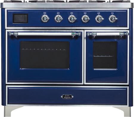 Ilve Majestic II UMD10FDNS3MBCLP Freestanding Dual Fuel Range Blue, UMD10FDNS3 Front CD