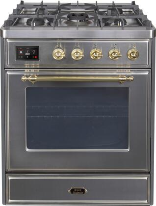 Ilve Majestic II UM30DNE3SSGLP Freestanding Dual Fuel Range Stainless Steel, UM30DNE3SSGLP-Front-CD-A
