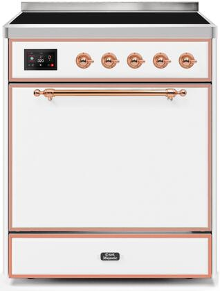 Ilve Majestic II UMI30QNE3WHP Freestanding Electric Range , UMI30QNE3WHP-Front-CD-A