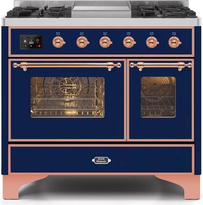 Ilve Majestic II UMD10FDNS3MBPLP Freestanding Dual Fuel Range Blue, UMD10FDNS3MBPLP-Front-CD-A