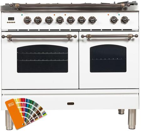"""UPDN100FDMPRALY 40"""" Nostalgie Series Dual Fuel Range with 5 Sealed Brass Burners, 3.55 cu. ft. Total Capacity True Convection Oven, Griddle, in Custom RAL Color"""