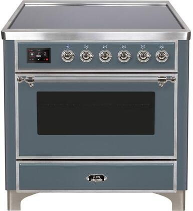 Ilve Majestic II UMI09NS3BGC Freestanding Electric Range Blue Grey, Blue Grey Induction Range