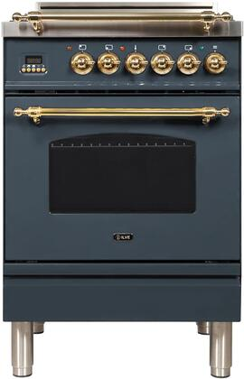 "UPN60DVGGYBGLP 24"" Nostalgie Series Freestanding Gas Range with 4 Brass Sealed Burners, 2.4 cu. ft. Oven Capacity, Full Width Drawer, Digital Clock and Timer, 2 Oven Racks, and Brass"