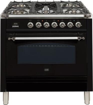Ilve Nostalgie UPN90FDMPNX Freestanding Dual Fuel Range Black, UPN90FDMPNX Dual Fuel Range