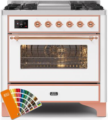 """UM09FDNS3RALP 36"""" Majestic II Series Dual Fuel Natural Gas Range with 6 Burners and Griddle, 3.5 cu. ft. Oven Capacity, TFT Oven Control Display, Copper Trim, in Custom RAL Color"""