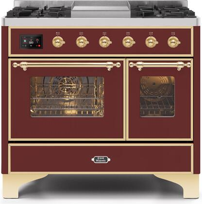 Ilve Majestic II UMD10FDNS3BUG Freestanding Dual Fuel Range Red, UMD10FDNS3BUPLP-Front-CD-A