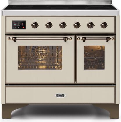 """UMDI10NS3AWB 40"""" Majestic II Series Induction Range with 6 Elements, 3.82 cu. ft. Total Oven Capacity, TFT Oven Control Display, Bronze Trim, in Antique White"""