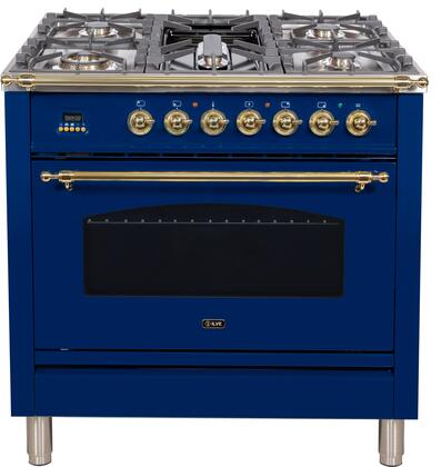 """UPN90FDMPBLLP 36"""" Nostalgie Series Dual Fuel Liquid Propane Range with 5 Sealed Brass Burners, 3 cu. ft. Capacity True Convection Oven, with Brass Trim, in Blue"""