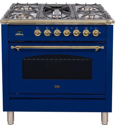 Ilve Nostalgie UPN90FDMPBLLP Freestanding Dual Fuel Range Blue, UPN90FDMPBLLP Liquid Propane Range