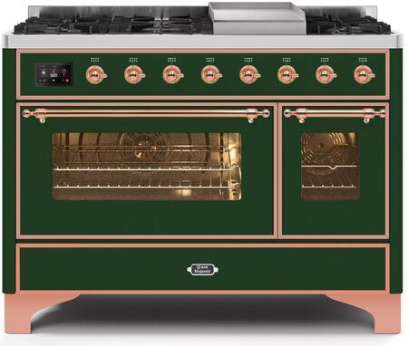 Ilve Majestic II UM12FDNS3EGP Freestanding Dual Fuel Range Green, UM12FDNS3EGPNG-Front-CD-A