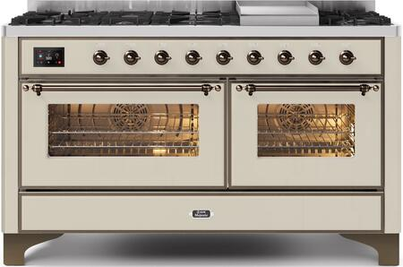 """UM15FDNS3AWBLP 60"""" Majestic II Series Dual Fuel Liquid Propane Range with 9 Sealed Burners amd Griddle, 5.8 cu. ft. Total Oven Capacity, TFT Oven Control Display, Bronze Trim, in Antique White"""