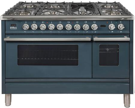 """UPW120FDMPGU 48"""" Professional Plus Dual Fuel Natural Gas Range with 7 Sealed Burners, Double Ovens, Griddle, and Rotisserie, in Blue Grey"""