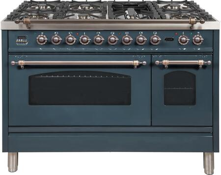 """UPN120FDMPBGY 48"""" Nostalgie Series Dual Fuel Natural Gas Range with 7 Sealed Burners, 5 cu. ft. Total Capacity True Convection Oven, Griddle, and Bronze Trim, in Blue Grey"""
