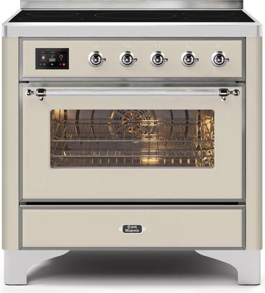 Ilve Majestic II UMI09NS3AWC Freestanding Electric Range Bisque, UMI09NS3AWC-Front-CD-A