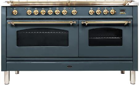 """UPN150FDMPBG 60"""" Nostalgie Series Dual Fuel Range with 8 Sealed Burners, 5.99 cu. ft. Total Capacity True Convection Oven, Griddle, with Brass Trim, in Blue Grey"""