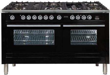 Ilve Professional Plus UPW150FDMPN Freestanding Dual Fuel Range Black, 1