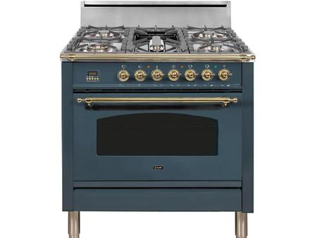 """UPN90FDVGGBG 36"""" Nostalgie Series Freestanding Gas Range with 4 Burners, Griddle, 3.5 cu. ft. Oven Capacity, Full Width Warming Drawer, Digital Clock and Timer, Rotisserie, and Brass Trim Brass"""