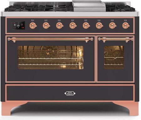 Ilve Majestic II UM12FDNS3MGP Freestanding Dual Fuel Range Graphite, UM12FDNS3MGPNG-Front-CD-A