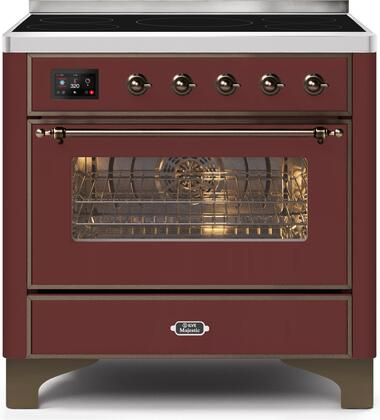 Ilve Majestic II UMI09NS3BUB Freestanding Electric Range Red, UMI09NS3BUB-Front-CD-A