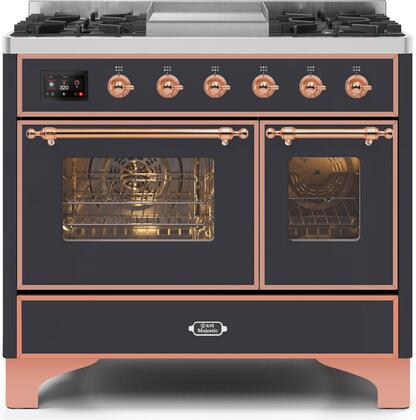 Ilve Majestic II UMD10FDNS3MGP Freestanding Dual Fuel Range Graphite, UMD10FDNS3MGPNG-Front-CD-A