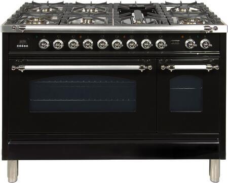 Ilve Nostalgie UPN120FDMPNXLP Freestanding Dual Fuel Range Black, UPN120FDMPNXLP Liquid Propane Range