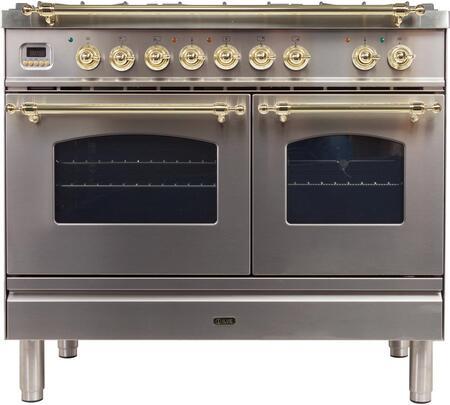Ilve Nostalgie UPDN100FDMPILP Freestanding Dual Fuel Range Stainless Steel, UPDN100FDMPI Dual Fuel Range