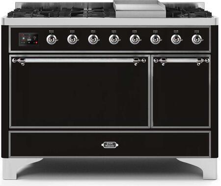 Ilve Majestic II UM12FDQNS3BKCLP Freestanding Dual Fuel Range Black, UM12FDQNS3BKCLP-Front-CD-A