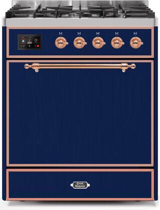 Ilve Majestic II UM30DQNE3MBPLP Freestanding Dual Fuel Range Blue, UM30DQNE3MBPLP-Front-CD-A