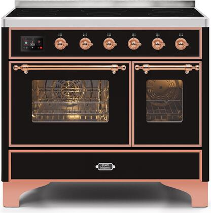 """UMDI10NS3BKP 40"""" Majestic II Series Induction Range with 6 Elements, 3.82 cu. ft. Total Oven Capacity, TFT Oven Control Display, Copper Trim, in Glossy Black"""