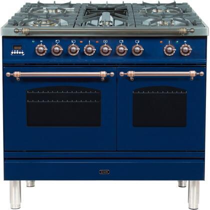 Ilve Nostalgie UPDN100FDMPBLY Freestanding Dual Fuel Range Blue, ILVE UPDN100FDMPBLY Range top