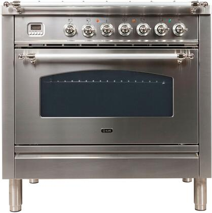 Nostalgie Series 36 Inch Dual Fuel Natural Gas Freestanding Range in Stainless Steel with Chrome Trim