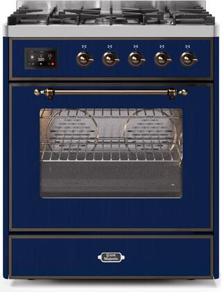 Ilve Majestic II UM30DNE3MBBLP Freestanding Dual Fuel Range Blue, UM30DNE3MBBLP-Front-CD-A