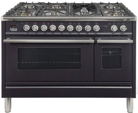 """UPW120FDMPMLP 48"""" Professional Plus Dual Fuel Liquid Propane Range with 7 Sealed Burners, Double Ovens, Griddle, and Rotisserie, in Matte Graphite"""