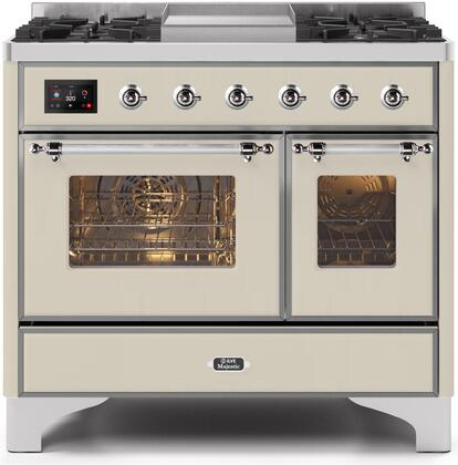 Ilve Majestic II UMD10FDNS3AWC Freestanding Dual Fuel Range Bisque, UMD10FDNS3AWCNG-Front-CD-A