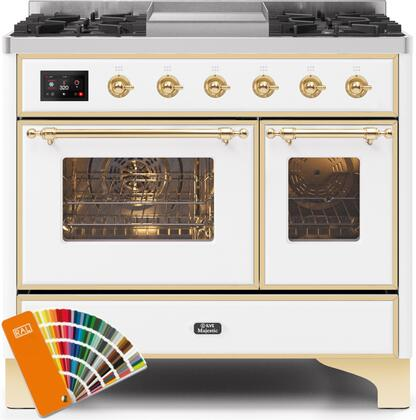 Ilve Majestic II UMD10FDNS3RALGLP Freestanding Dual Fuel Range Custom Color, UMD10FDNS3RALGLP-Front-CD-A