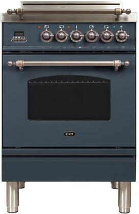 """UPN60DVGGYBGYNG 24"""" Nostalgie Series Freestanding Gas Range with 4 Brass Sealed Burners, 2.4 cu. ft. Oven Capacity, Full Width Drawer, Digital Clock and Timer, 2 Oven Racks, and Bronze"""