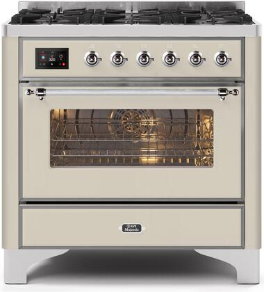 """UM096DNS3AWCLP 36"""" Majestic II Series Dual Fuel LP Range with 6 Burners, 3.5 cu. ft. Oven Capacity, TFT Oven Control Display, Chrome Trim, in Antique White"""