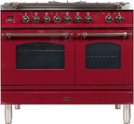 Ilve Nostalgie UPDN100FDMPRBY Freestanding Dual Fuel Range Red, UPDN100FDMPRBY Dual Fuel Range