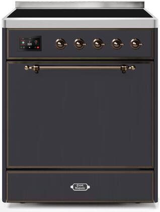 Ilve Majestic II UMI30QNE3MGB Freestanding Electric Range Graphite, UMI30QNE3MGB-Front-CD-A