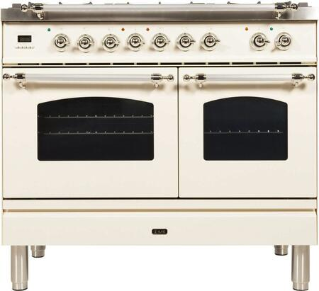 "UPDN100FDMPAX 40"" Nostalgie Series Dual Fuel Natural Gas Range with 5 Sealed Brass Burners, 3.55 cu. ft. Total Capacity True Convection Oven, Griddle, with Chrome Trim, in Antique White"